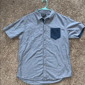 Button down light blue with dark blue underlying